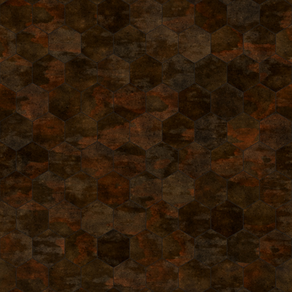 Corten Dark Rust Hexagonal BaseColor Texture